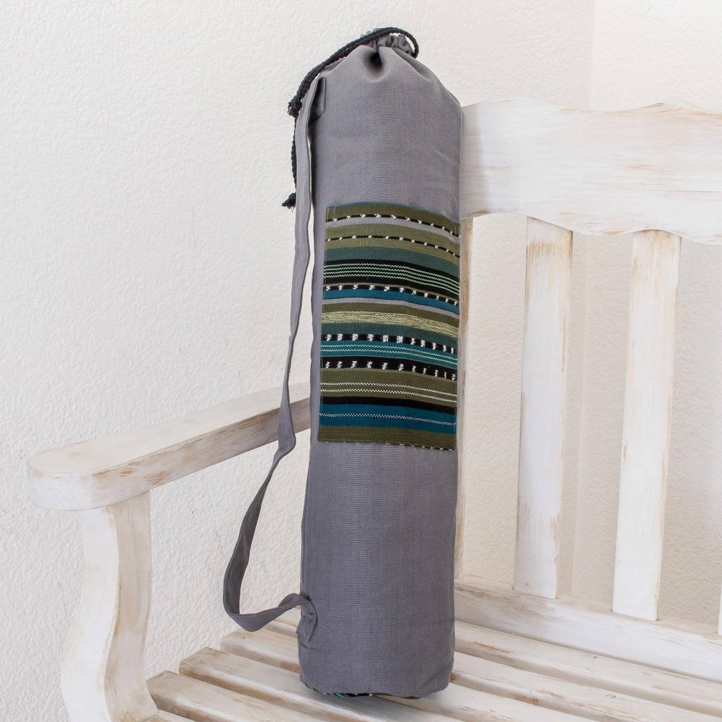 "Striped Cotton Yoga Bag from Guatemala, ""Atitlan Lake"" New year's resolutions"