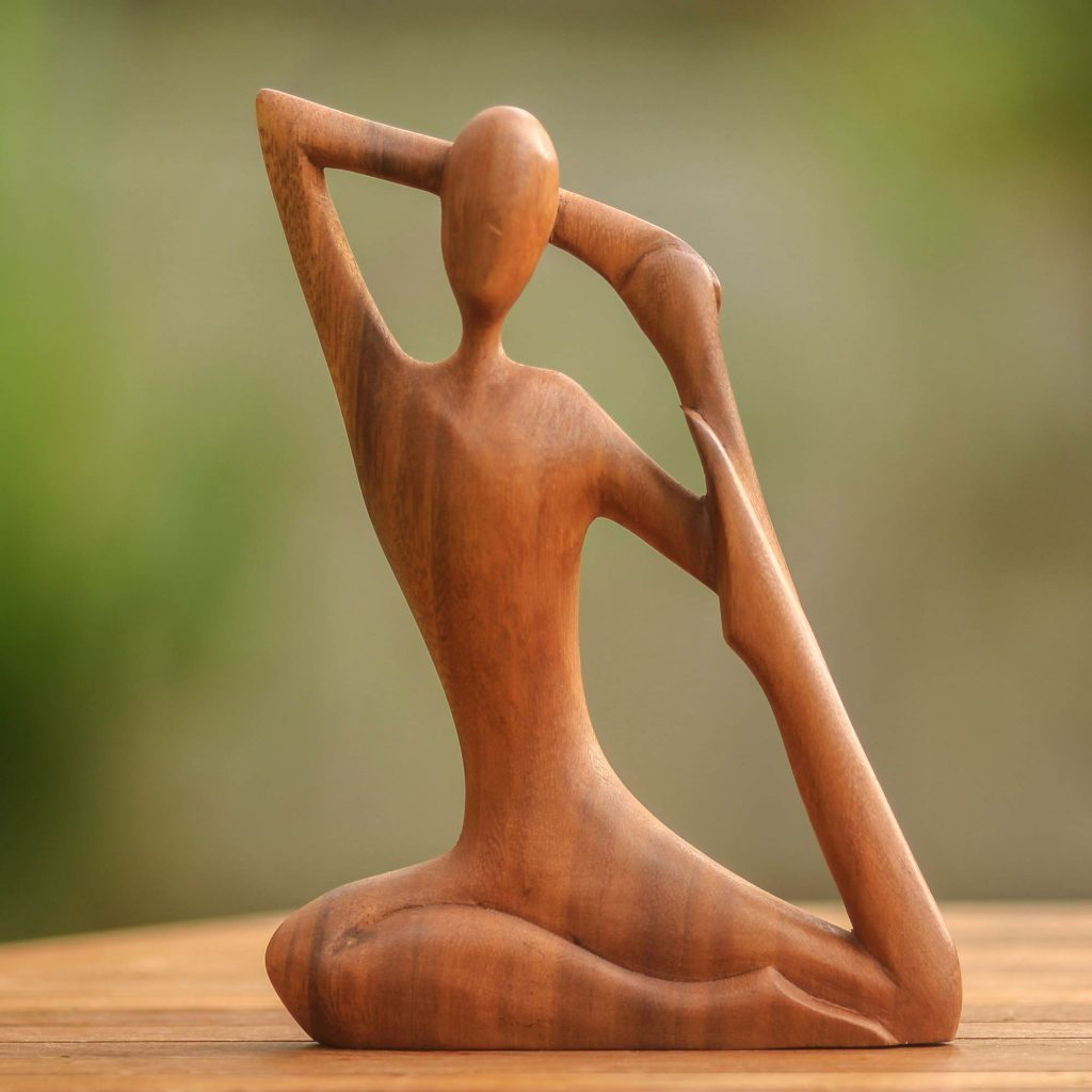 """Wood Sculpture from Indonesia, """"Yoga Stretch"""" New year's Resolutions"""