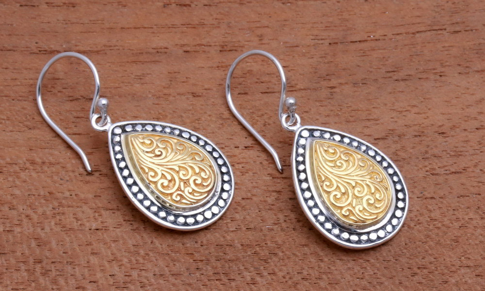 Earrings handcrafted silver or golden tin