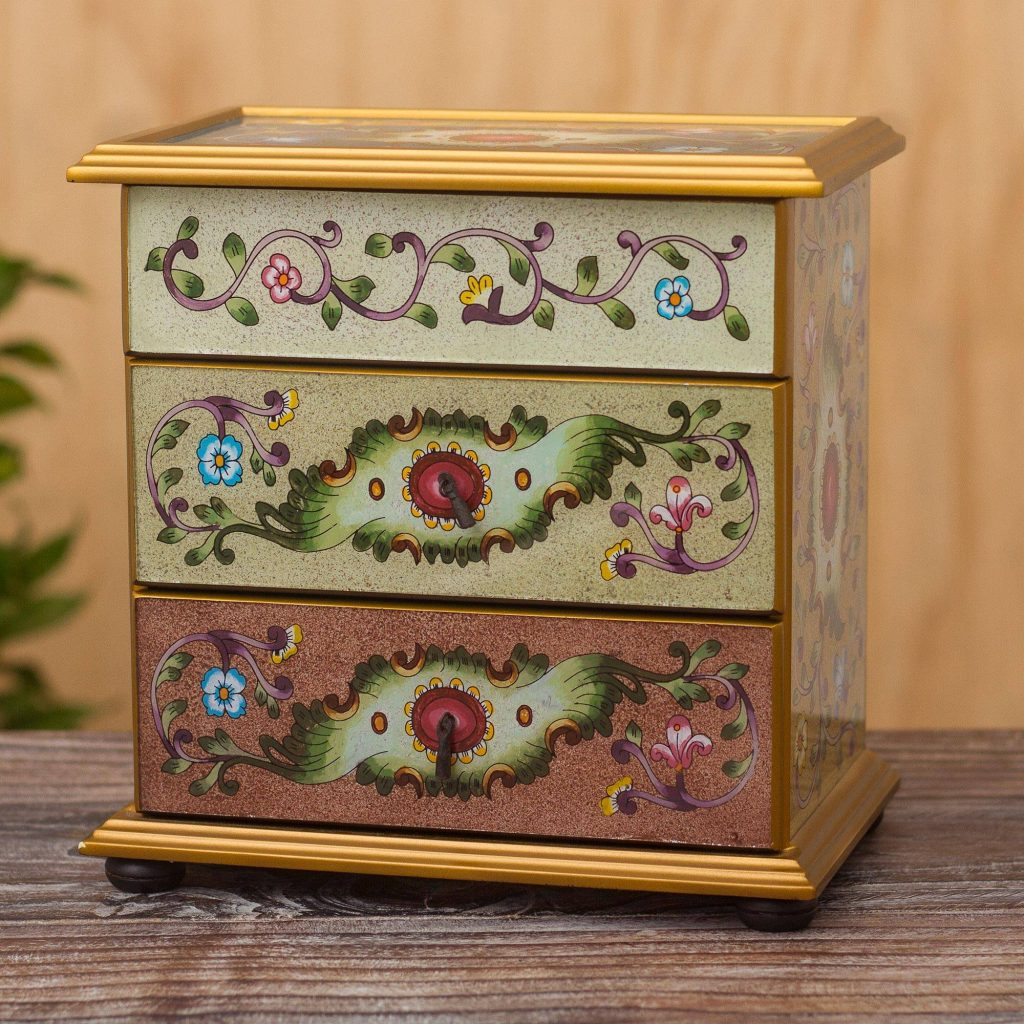 Artisan Crafted Glass and Wood Jewelry Chest, Colonial Splendor Exquisite Jewelry Boxes