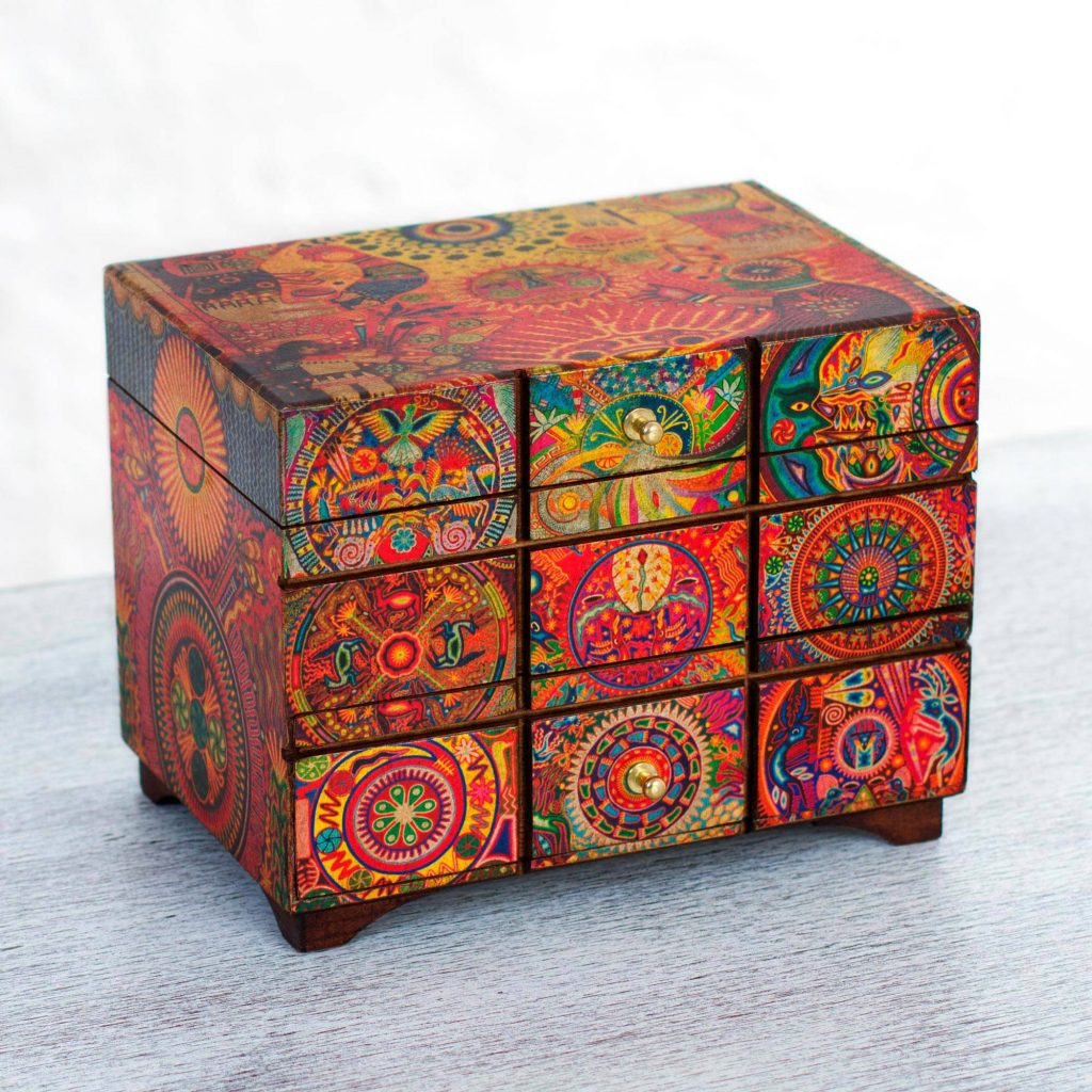Decoupage jewelry box, 'Huichol Portal' Exquisite Jewelry Boxes