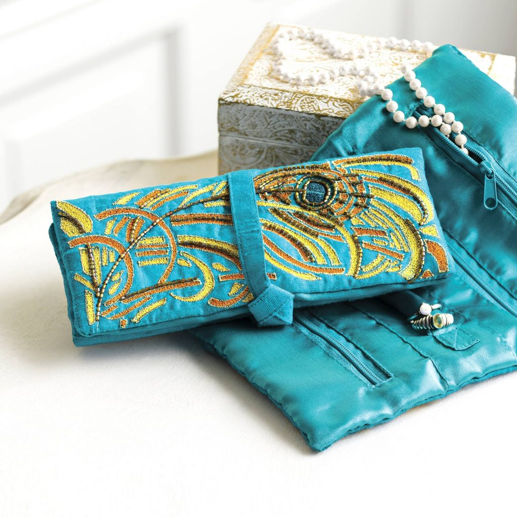 Embroidered, Beaded Jewelry Roll, 'Delhi Peacock' Exquisite Jewelry Boxes