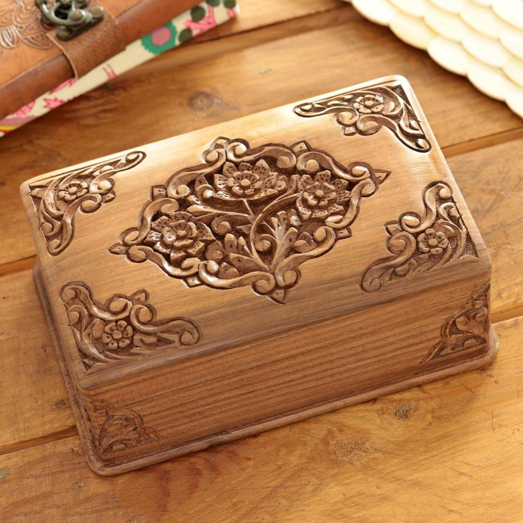 """Exquisite Jewelry boxes Handcrafted Indian Floral Wood Jewelry Box, """"Mesmerizing Bouquets"""""""