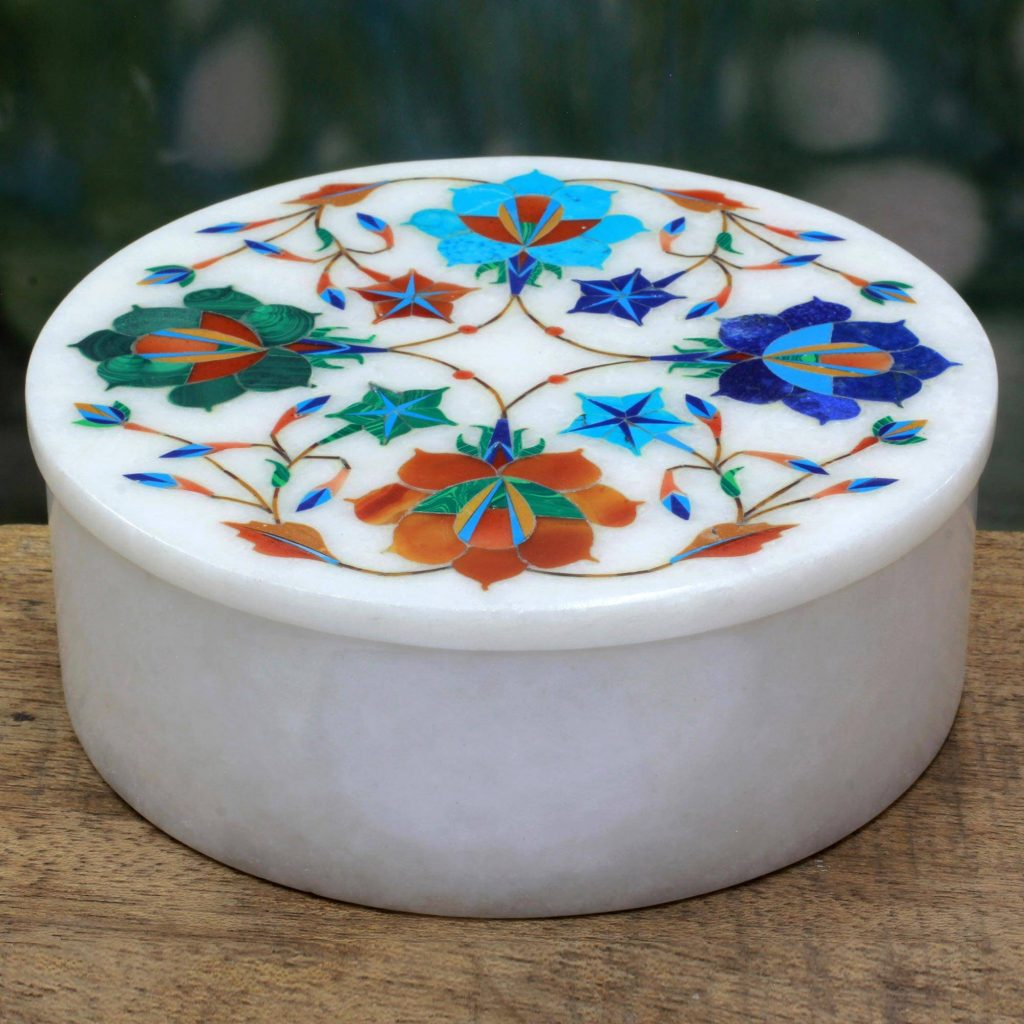 Marble jewelry box, 'Floral Jubilee' Exquisite Jewelry Box
