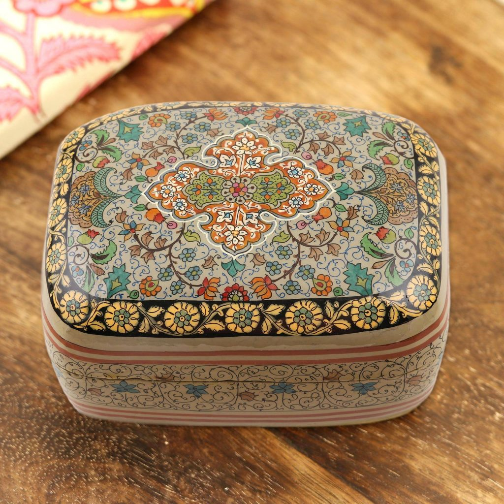 Papier mache jewelry box, 'Royal Persia' Exquisite Jewelry Boxes