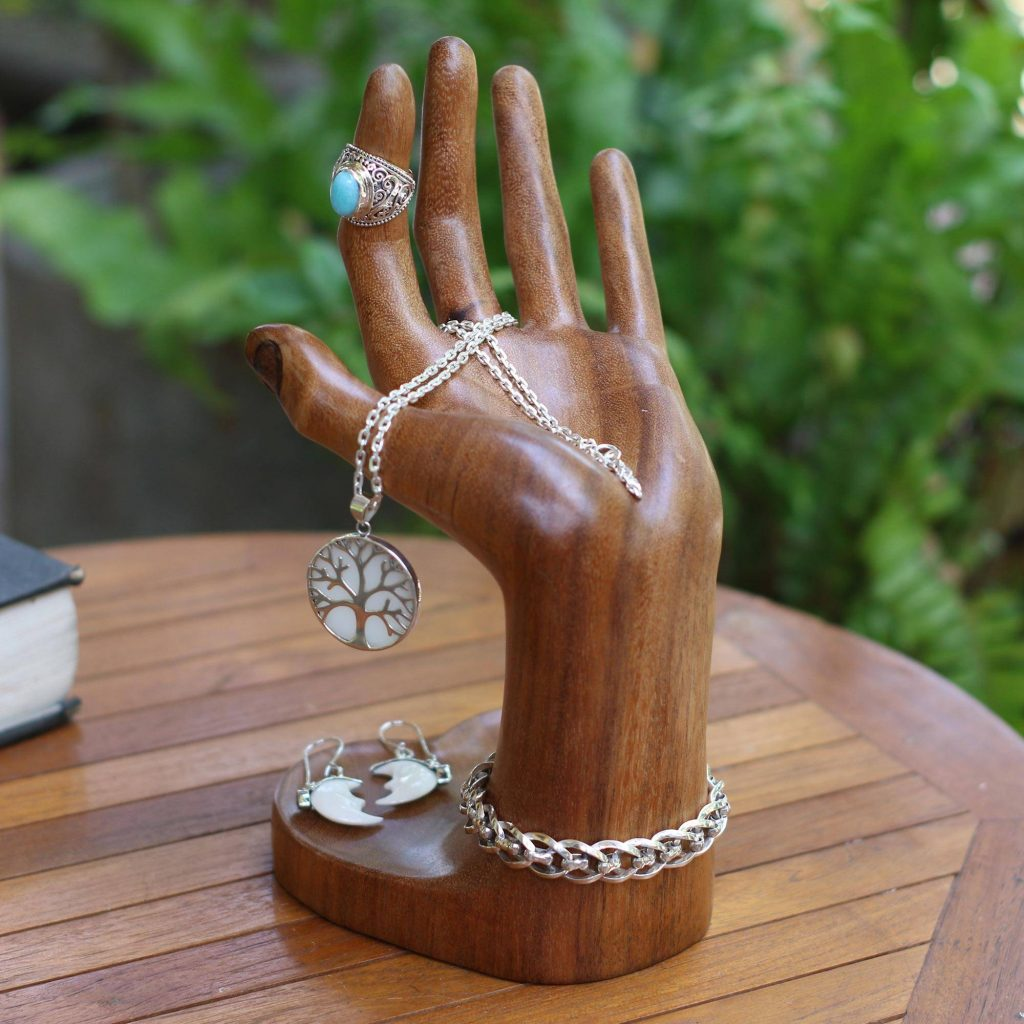 """Wood Jewelry Stand from Bali, """"Angel's Palm"""" Exquisite Jewelry Boxes"""