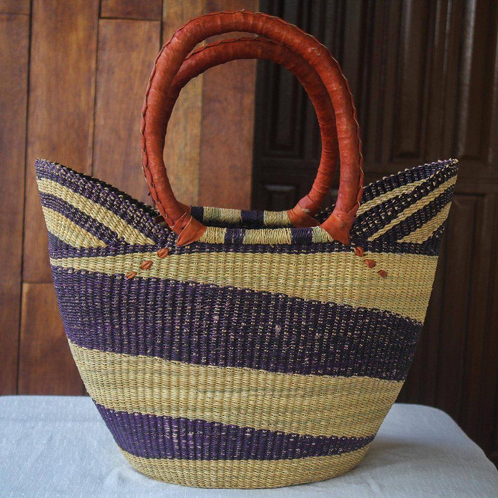 "Artisan Crafted Purple Striped Raffia Basket Tote Bag, ""Bawku Blue-Violet"" Beach Day"