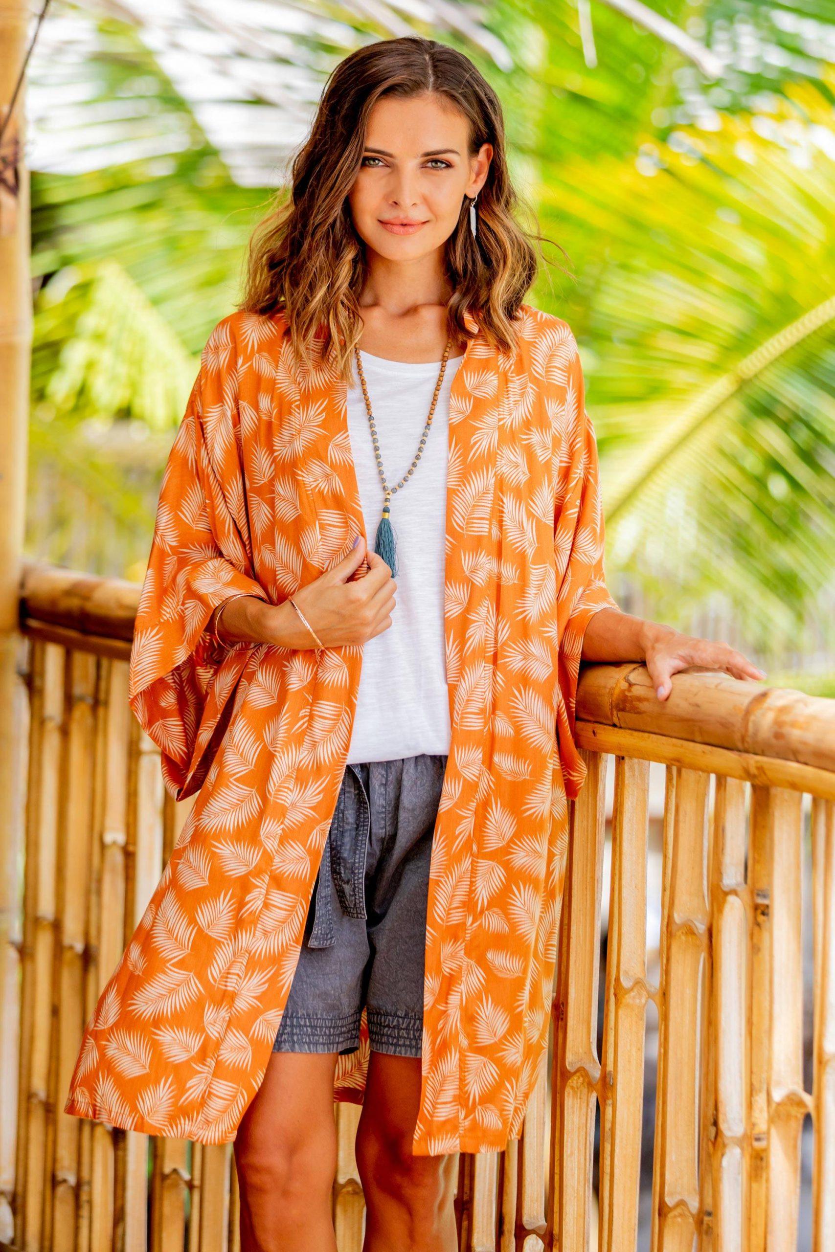 "Beach Day Robe in Ivory and Orange, ""Windy Beach in Orange"""