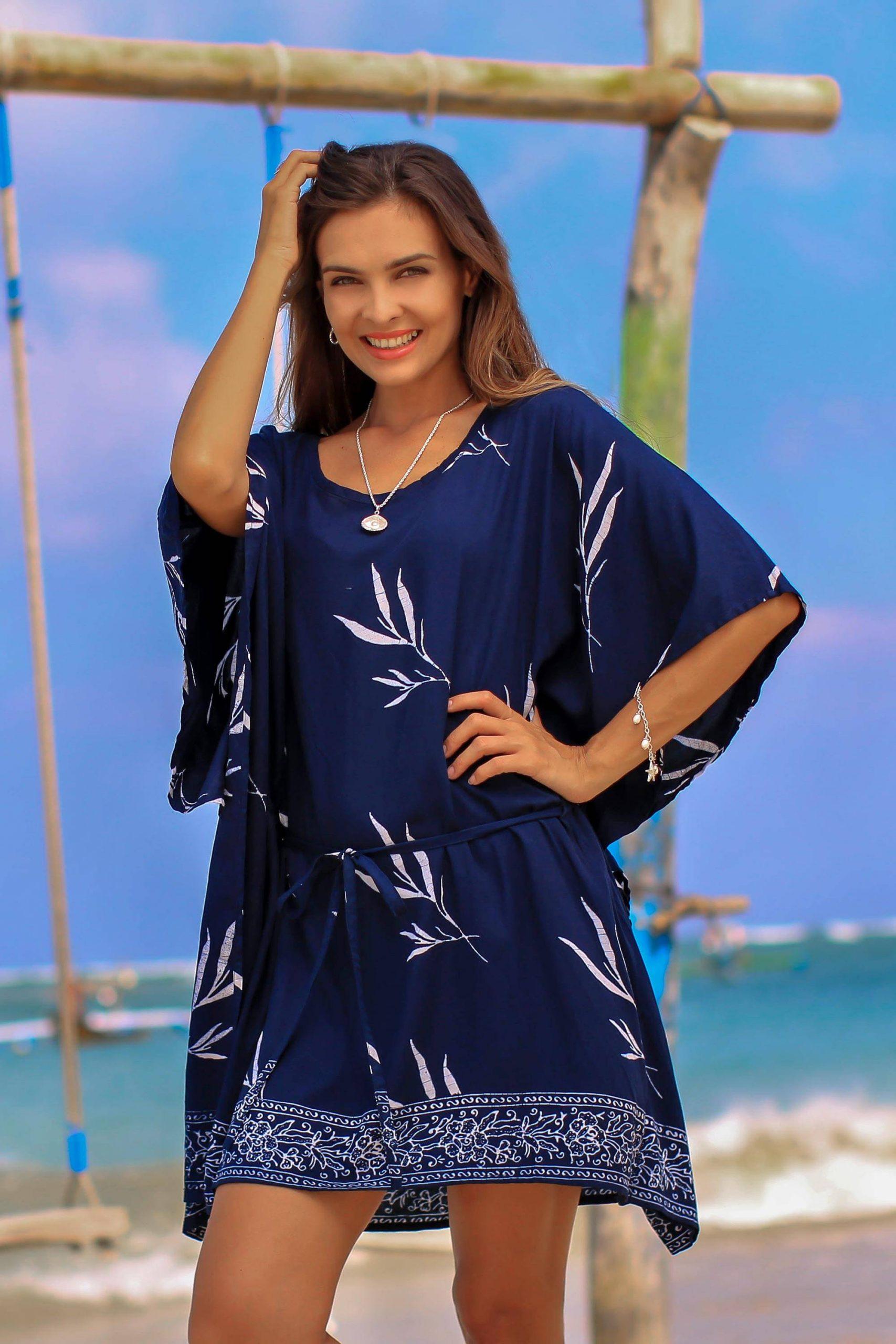 "Beach Day Batik Rayon Caftan ""Balinese Breeze in Midnight"""
