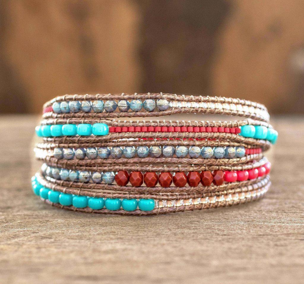 Beaded wrap bracelet, 'Fresh Achiote' Backyard Oasis