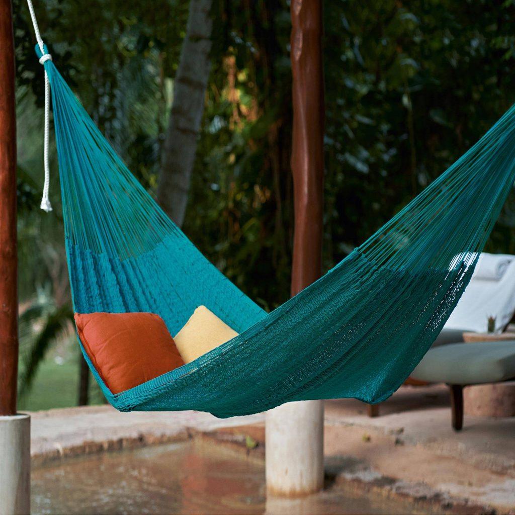 Cotton rope hammock, 'Uxmal Peacock' (single) Backyard Oasis