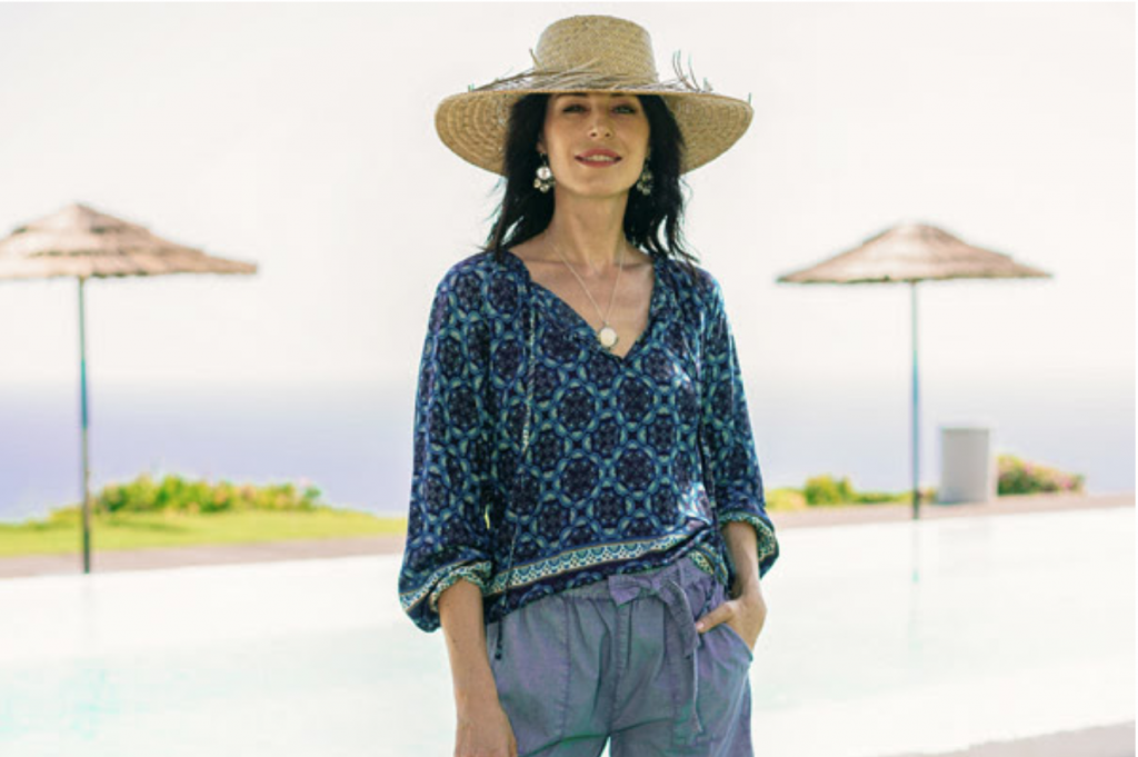 """Floral Motif Rayon Blouse in Blue from Thailand, """"Fascinating Evening"""" Backyard Oasis"""