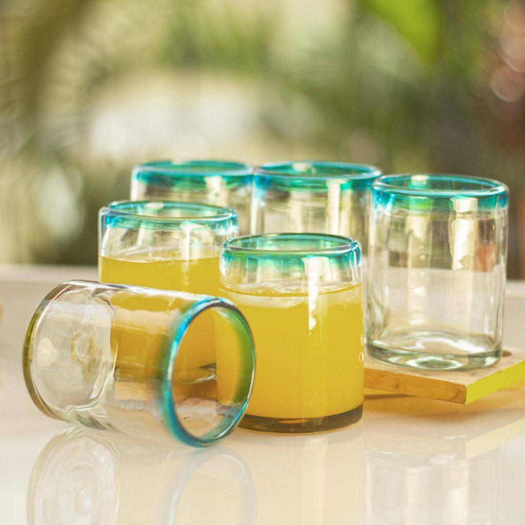 Blown glass juice glasses, 'Aquamarine Kiss' (set of 6) Beach Day