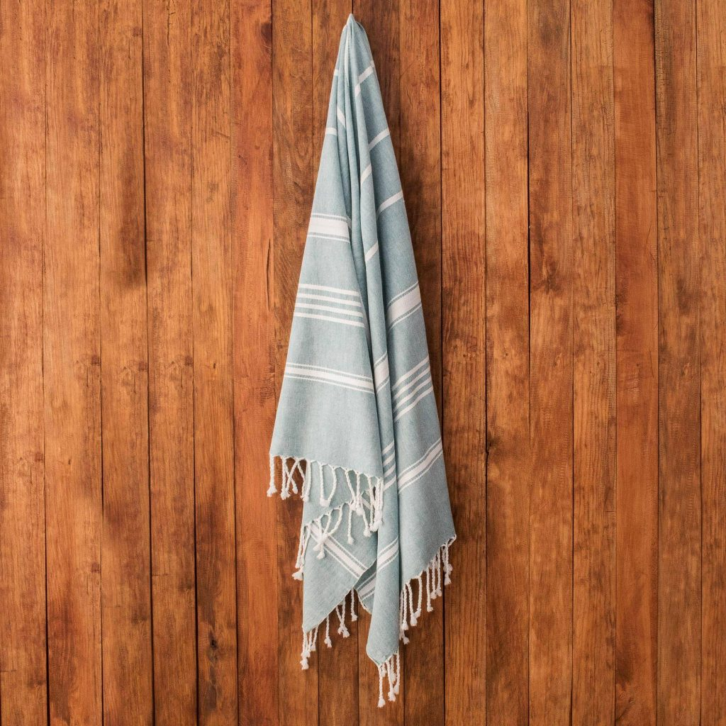 """Beach Day Striped Cotton Beach Towel, """"Sweet Relaxation in Teal"""""""