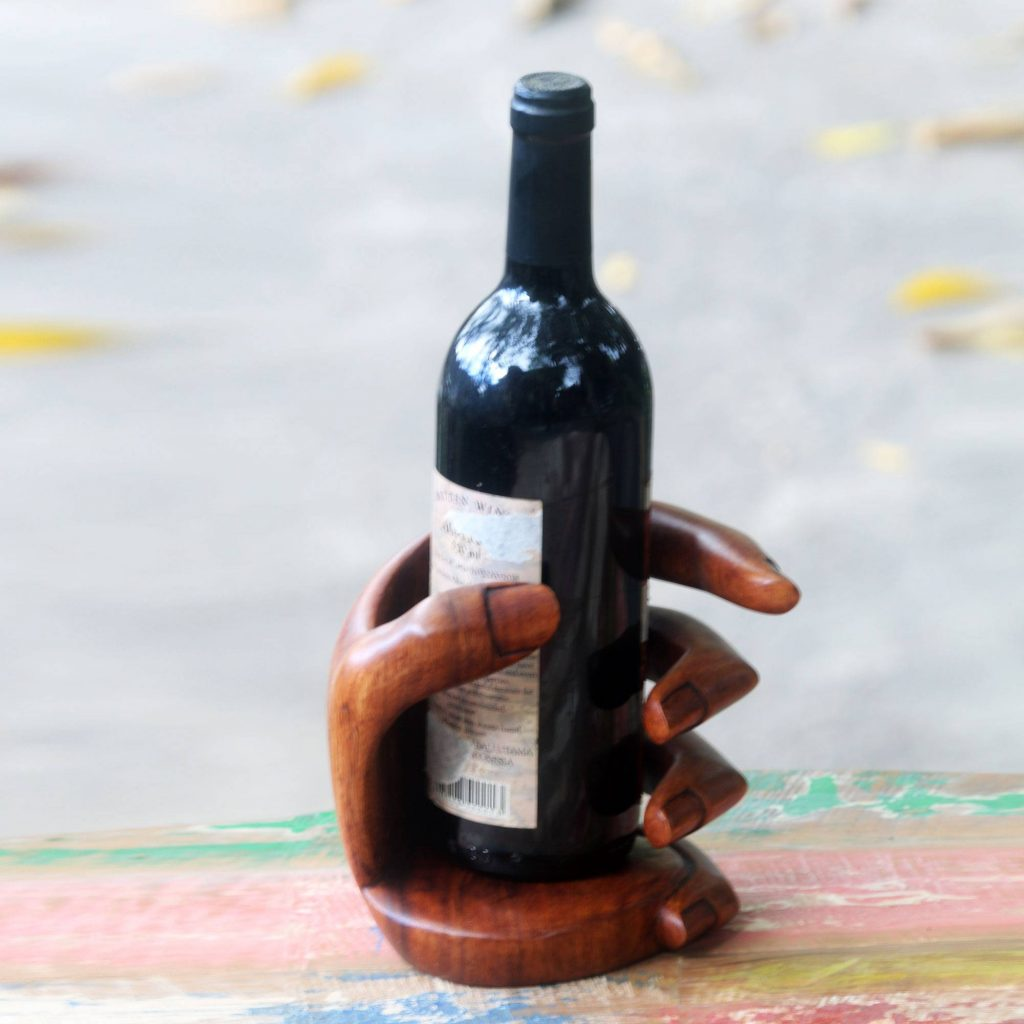 """Balinese Signed Hand Carved Wood Wine Bottle Holder, """"Hold Me"""" Cool Father's Day Gifts"""