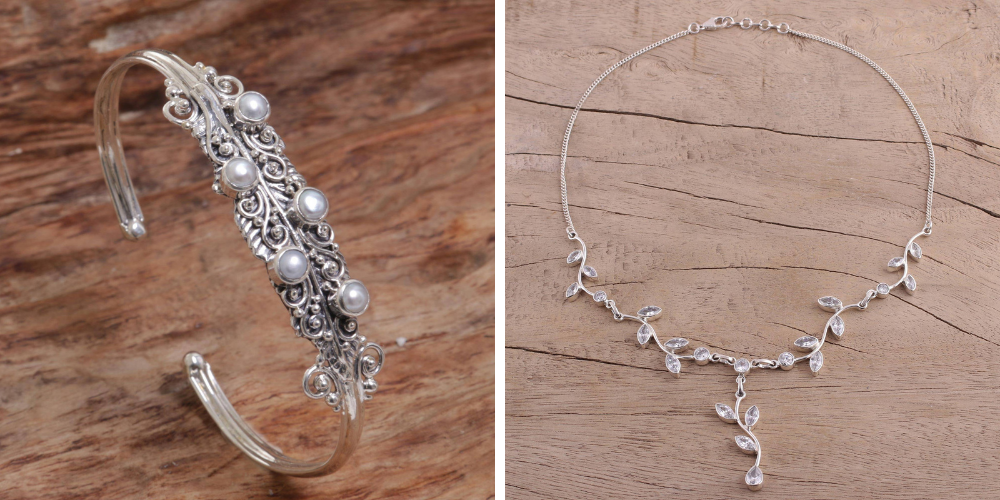 """Bridal Shower Gifts Pearl & Silver Cuff Bracelet, """"Balls of Moonlight"""" and Quartz Garland in Sterling Silver Necklace from India, """"Sparkling Garland"""""""