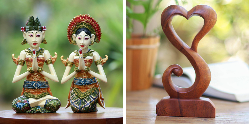 """Bridal Shower Gifts Wood Sculptures (Pair), """"Balinese Bride and Groom"""" and Suar Wood Open Heart Statuette Home Decor, """"Tangled Love"""""""