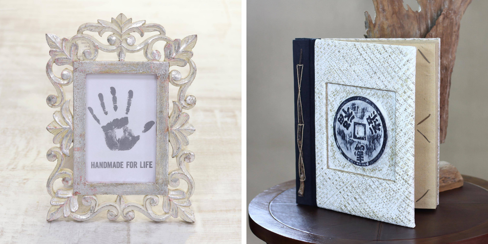 """Bridal Shower Gifts Hand Carved Silver Leaf Mango Wood Photo Frame (4x6), """"Gilded Gate"""" and Photo Album Natural Fibers """"Lucky Coin"""""""