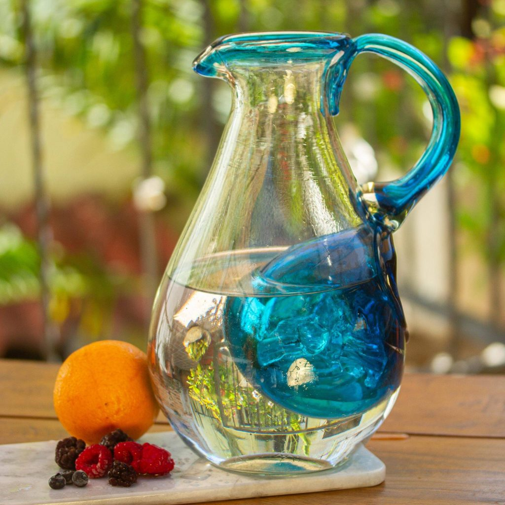 """Hand Made Blown Glass Pitcher with Ice Chamber, """"Fresh Caribbean"""" Unique Wedding Gifts"""