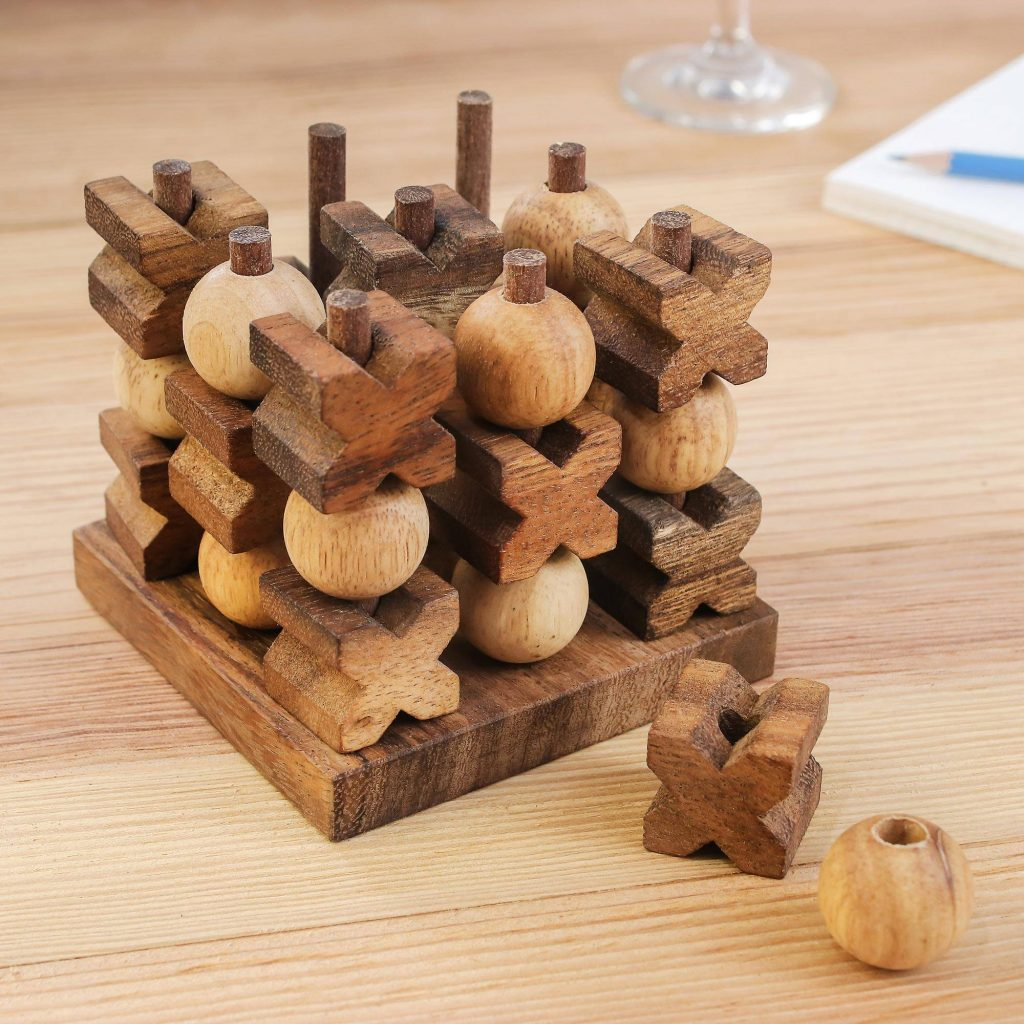 """Hand Made Wood Game Tic Tac Toe from Thailand, """"3D Tic Tac Toe"""" Cool Father's Day Gifts"""