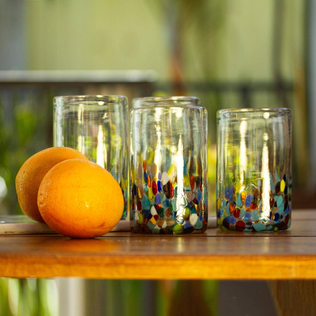 """Handblown Recycled Glass Tumbler Drinkware (Set of 6), """"Confetti Festival"""" Unique Wedding Gifts"""