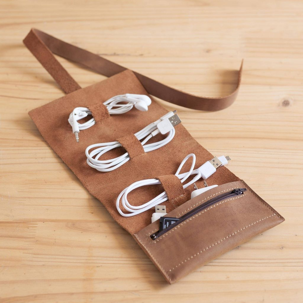 """Handmade Leather Cable Case from Peru, """"Rugged Modernity"""" Cool Father's Day Gifts"""