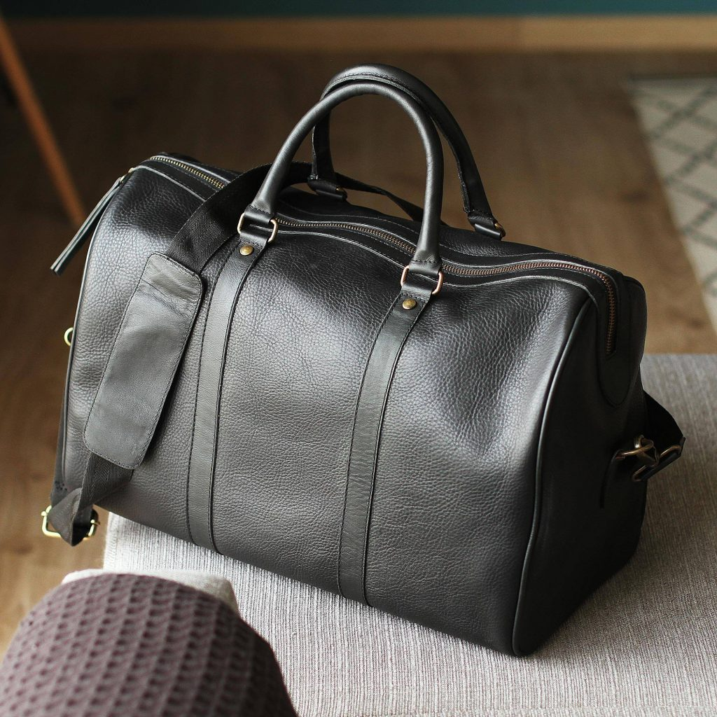 """Handmade Leather Travel Bag in Ebony from Mexico, """"Ebony Traveler"""" Cool Father's Day Gifts"""