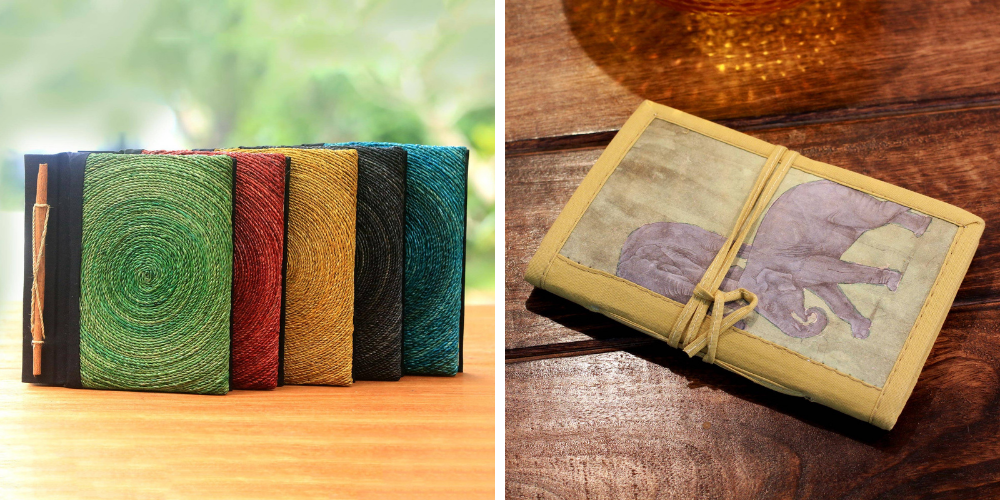 """Bridal Shower Gifts Assorted Color Natural Fiber Journals from Bali (Set of 5), """"Hedge Maze"""" and Handmade Paper Journal 46 Blank Pages (Medium), """"Jungle Elephants"""""""