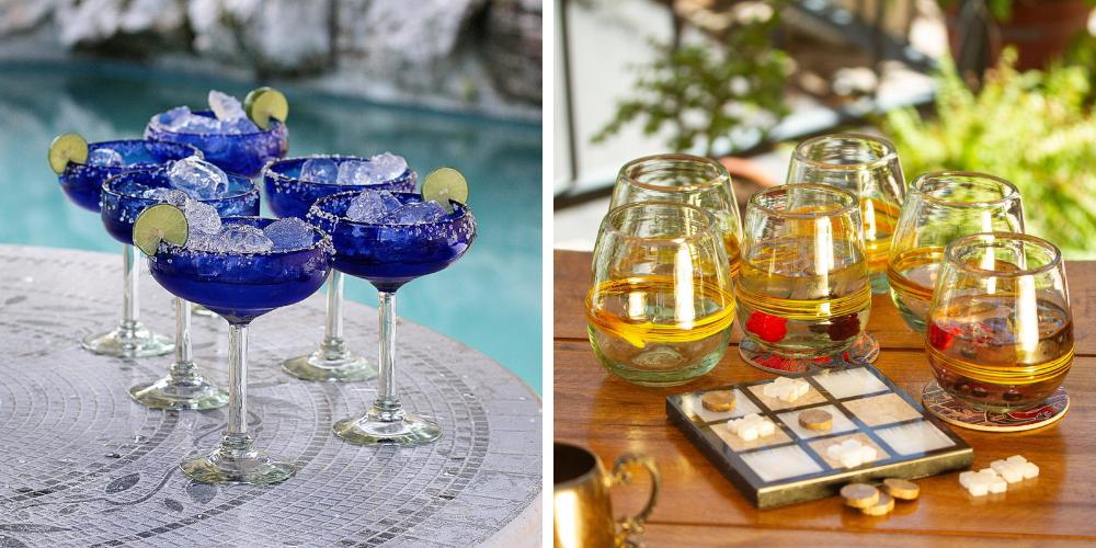 "Handblown Glass Margarita Set, ""Deep Blue"" and Handblown Glasses, ""Round Ribbon of Sunshine"" Bridal Shower Gifts"