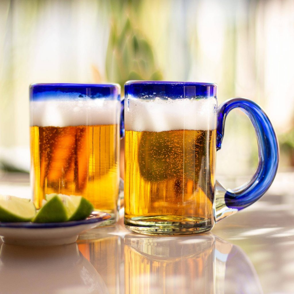 """Mexican Beer Glasses with Cobalt Handle and Rim (Set of 6), """"Cobalt Beer"""" Cool Father's Day Gifts"""