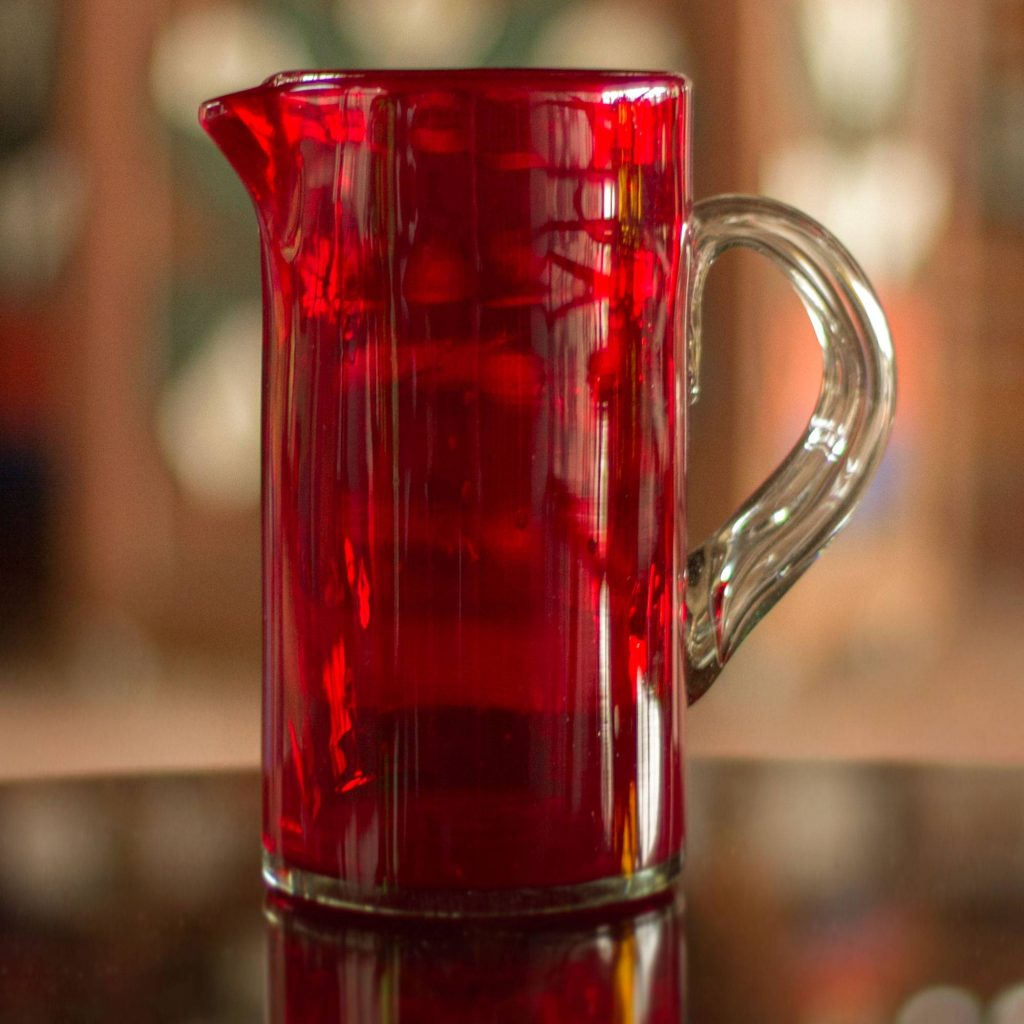 """Mexican Hand Blown Glass Modern Pitcher, """"Ruby Red"""""""