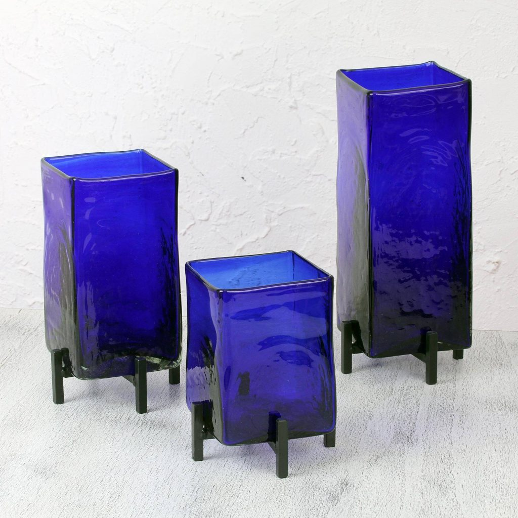 """Mexican Handblown Glass Vases with Stands Set of 3, """"Blue Hurricane"""" Unique Wedding Gifts"""