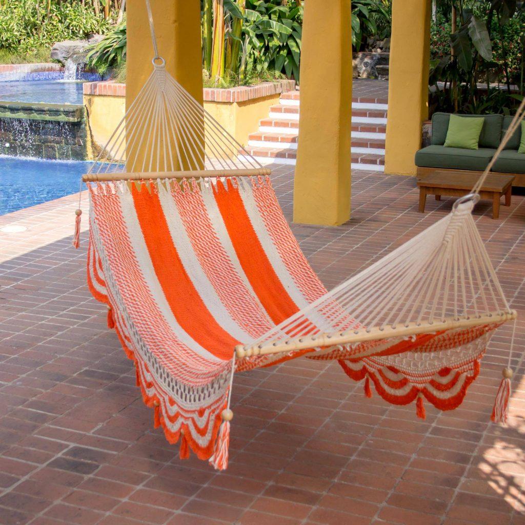 "Nicaragua Orange Ivory Handcrafted Cotton Hammock (Single), ""Sweet Orange"""