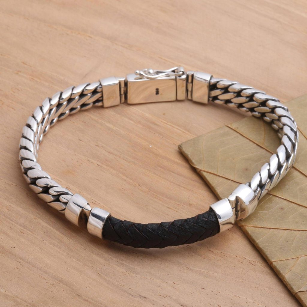 """Polished Sterling Silver and Leather Men's Bracelet, """"Bridge in Black"""" Cool Father's Day Gifts"""