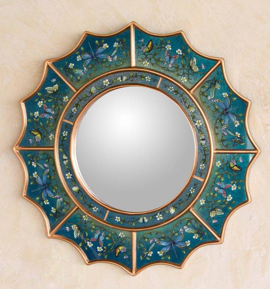 """Reverse Painted Glass Round Wall Mirror from Peru, """"Blue Summer Radiance"""" unique wedding gifts"""