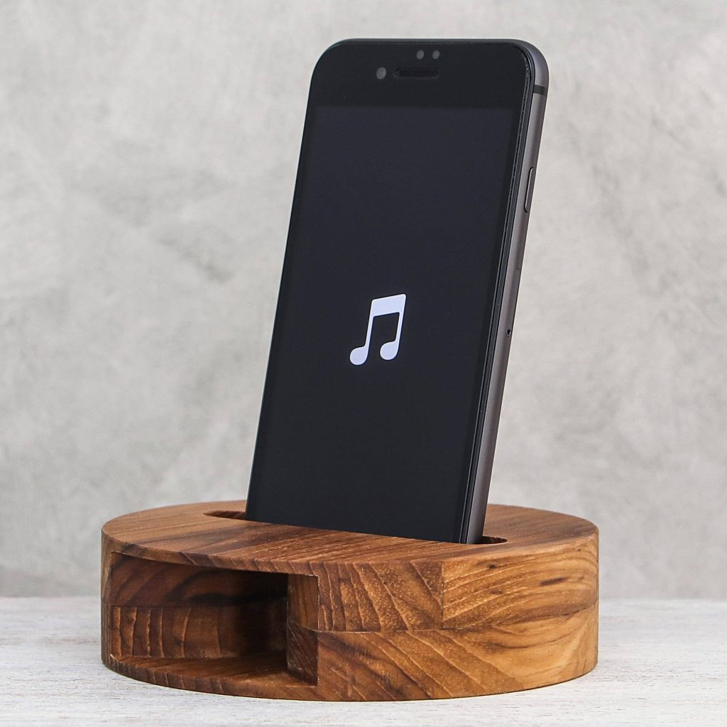 """Round Teak Wood Phone Speaker from Thailand, """"Modern Sound"""" Cool Father's Day Gifts"""