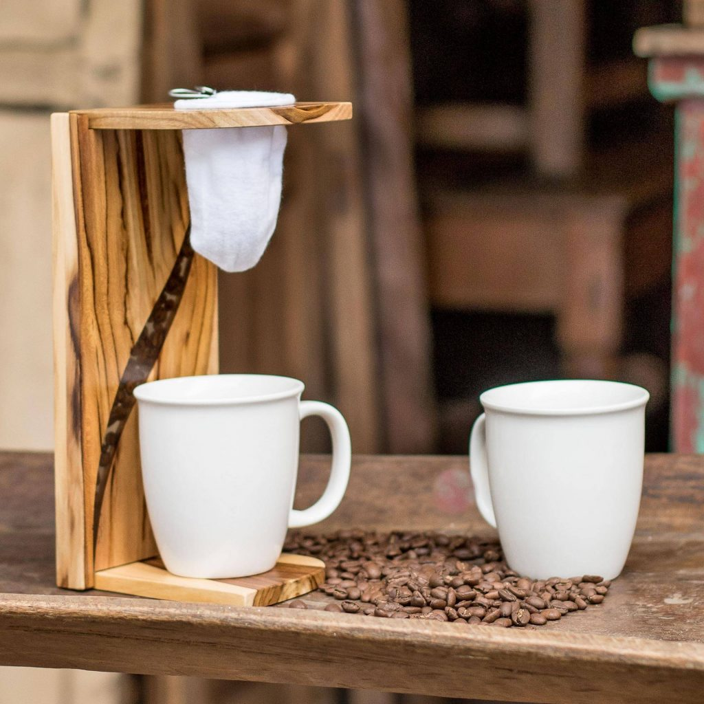 """Teak Wood and Resin Single-Serve Drip Coffee Stand, """"Fresh Beans"""" Cool Father's Day gifts"""
