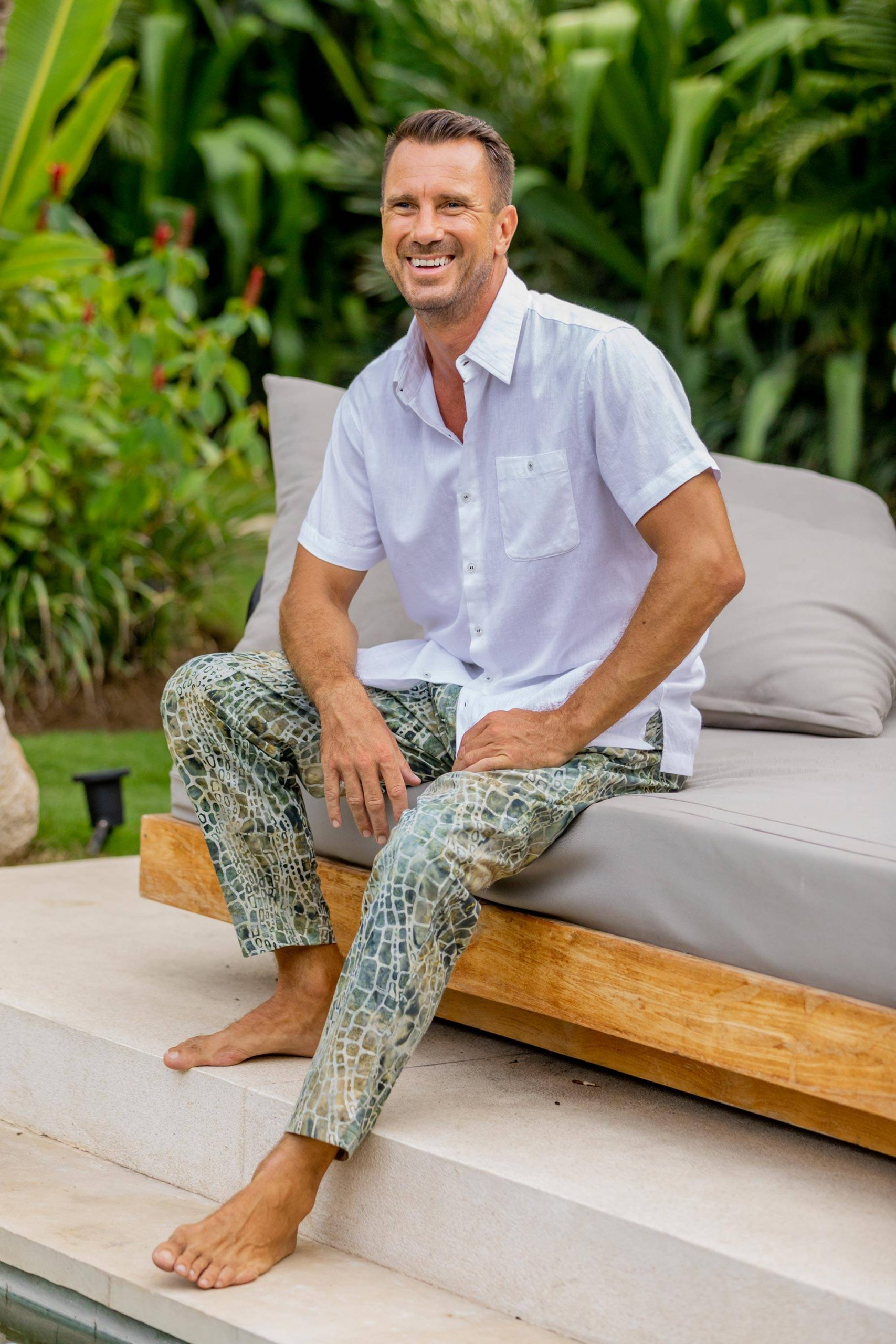"""Verdant Hand-Printed Cotton Pants from Bali, """"Forest Pebbles"""" Cool Father's Day Gifts"""