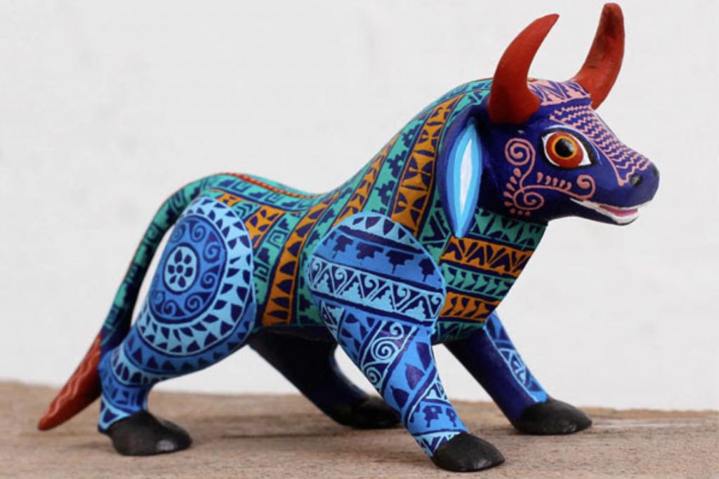 """Multicolored Wood Alebrije Bull Figurine from Mexico, """"Colorful Bull"""""""