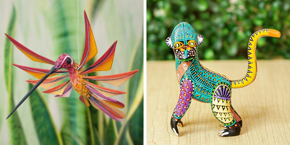 """Rainbow Monkey"" Multi Color Hummingbird Alebrije Sculpture Crafted by Hand, ""Colorful Hummingbird"" alebrije art"