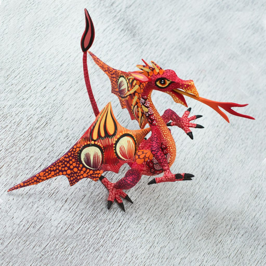 """Copal Wood Dragon Alebrije Sculpture in Red and Orange, """"Mexican Dragon in Red"""""""