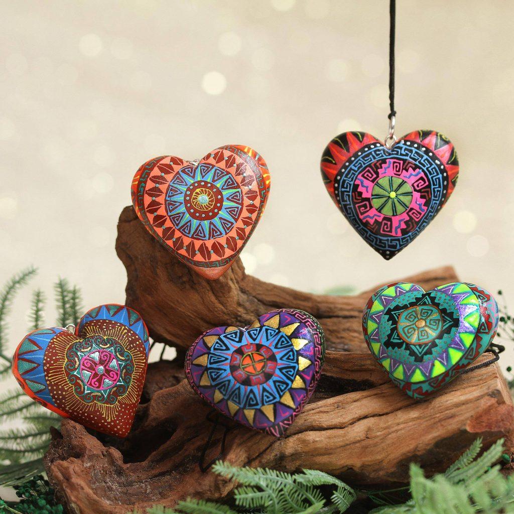 "Wood Ornaments, ""Alebrije Hearts"" Alebrije Art"