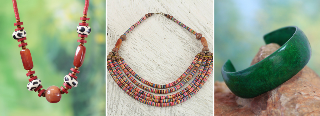 """Artisan Multicolor Bead Necklace with Wood Agate and Leather, """"Multicolor Wend Panga"""" , African Agate and Bone Beaded Necklace, """"Taoure"""", Handcrafted Modern Leather Cuff Bracelet, """"Annula in Green"""""""