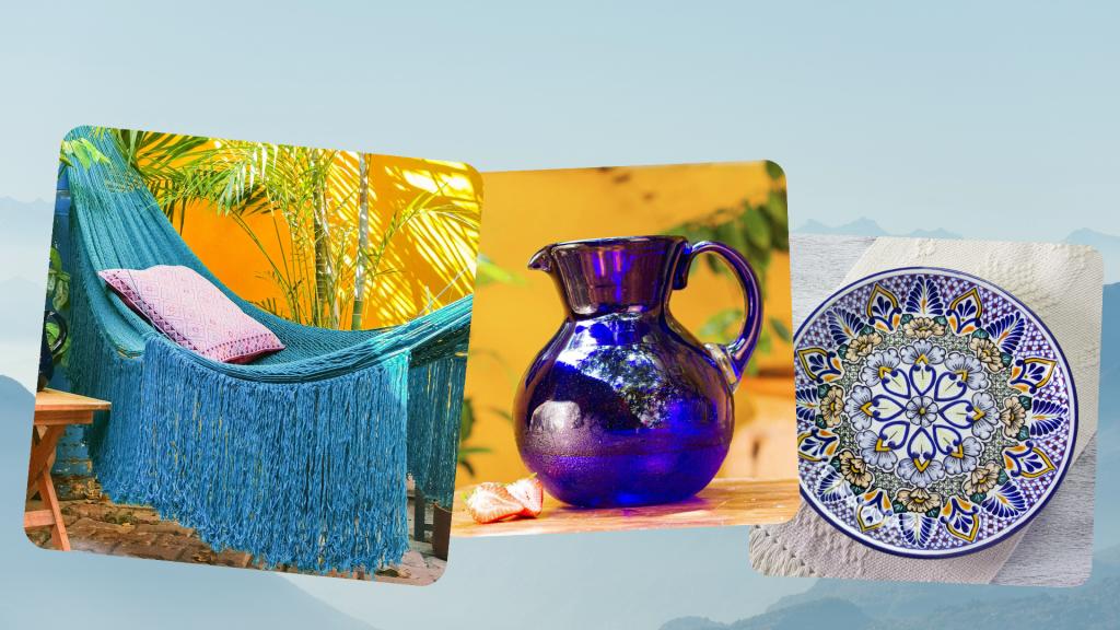 """Mexican Art """"Caribbean Blue Cascade"""" Cotton Hammock; """"Cobalt Light"""" Handblown Recycled Glass Pitcher and """"Sunshine Kaleidoscope"""" Talavera-Style Serving Plate"""