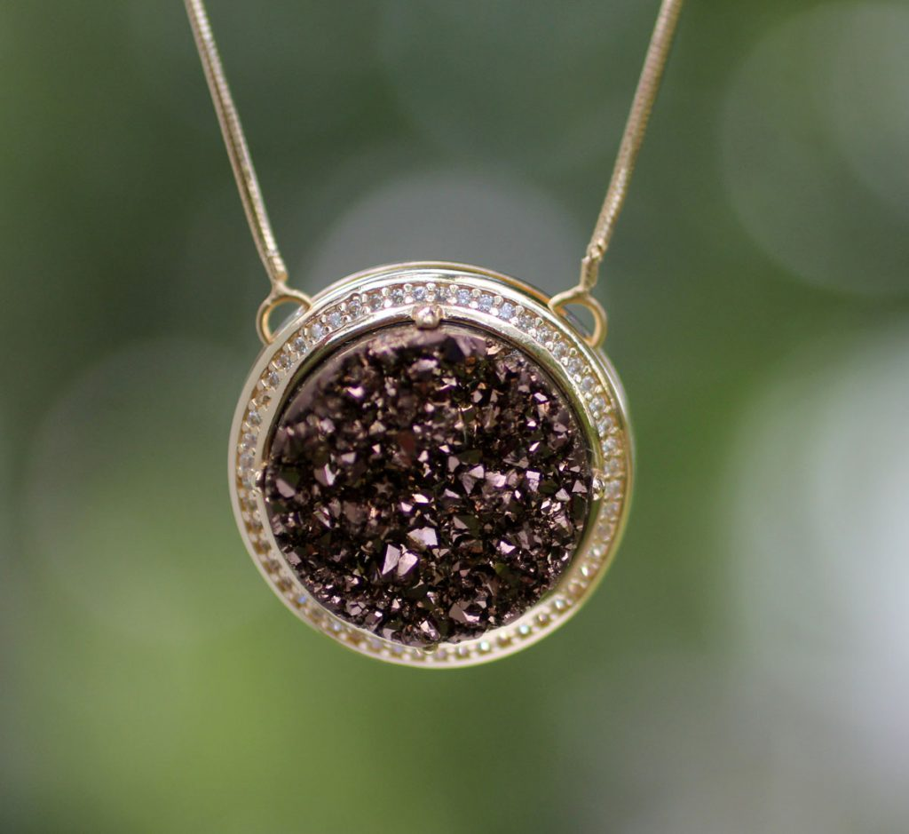 """LAtin America Jewelry Gold Plated Pendant Drusy Necklace from Brazil, """"Bronze Moon"""""""