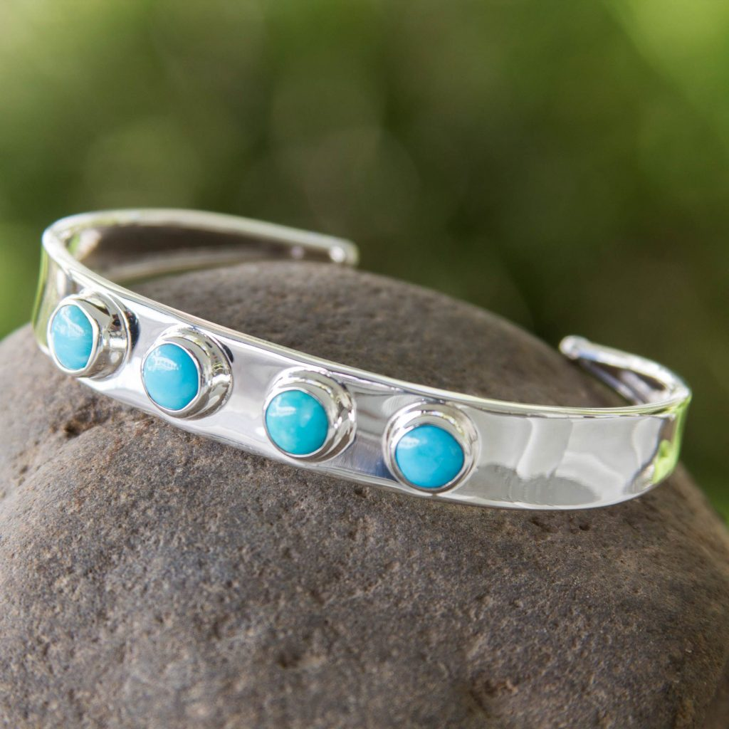"""Latin America Jewelry Turquoise Taxco Cuff Bracelet, """"Song of the Sky"""""""