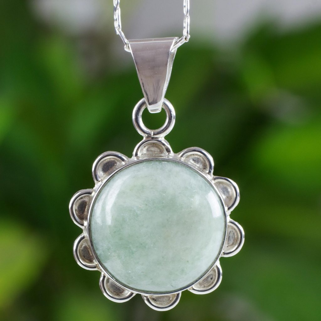 "Latin America Jewelry Light Green Jade in Sterling Silver Flower Necklace, ""Solar Apple Flower"""
