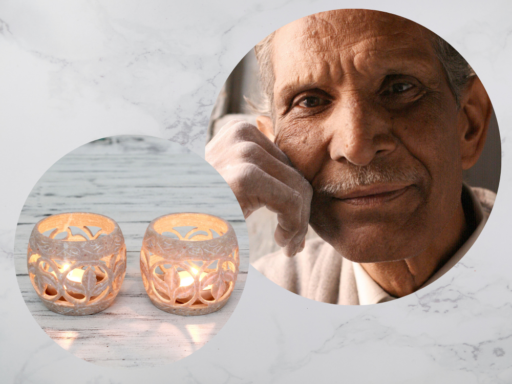 """Gulam Rasool with his """"Fig Leaf"""" Soapstone Candleholders Indian carvers"""