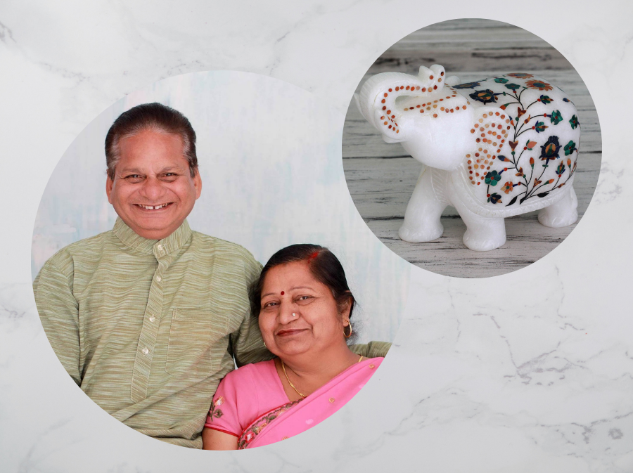 """Raj and Raja with Marble Inlay Sculpture, """"Elephant Fortunes"""" Indian Artisan"""