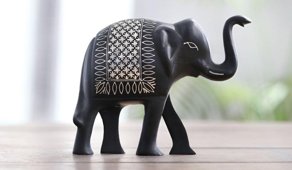 "Indian Bidri Silver Inlay Bidri Elephant Figurine from India, ""Elephant of Bidar"""